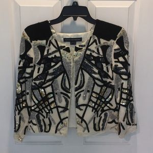 French Connection gold silver sequin cardigan